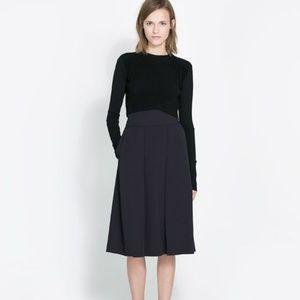 Zara Pleated Skirt in Navy
